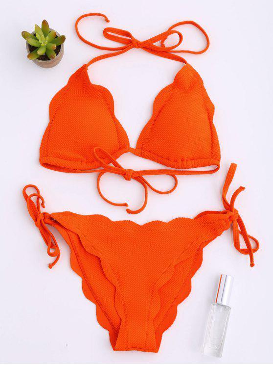 chic Halter Scalloped Hem String Bikini Set - ORANGE RED M