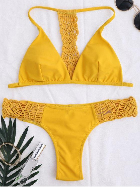 women T Back Braided Bikini Set - YELLOW M