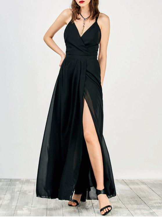 affordable High Slit Criss-Cross Maxi Dress - BLACK S