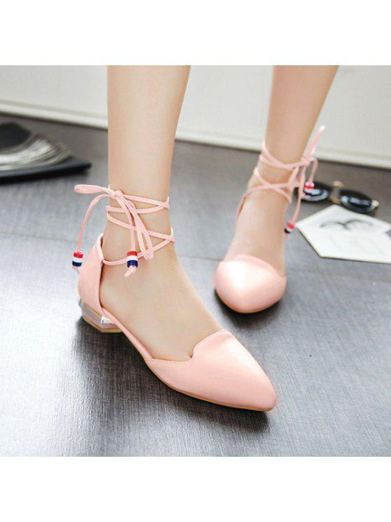 trendy Pointed Toe Tie Up Flat Shoes - PINK 37