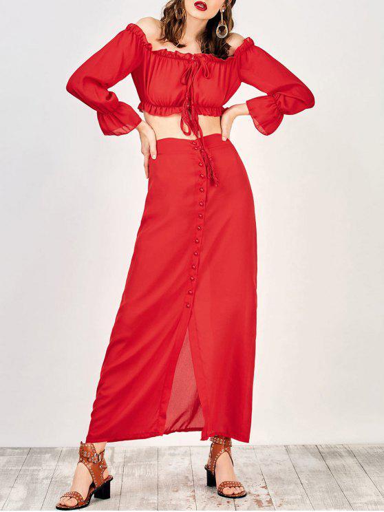 Top crop épaules dénudées et maxi jupe - Rouge S