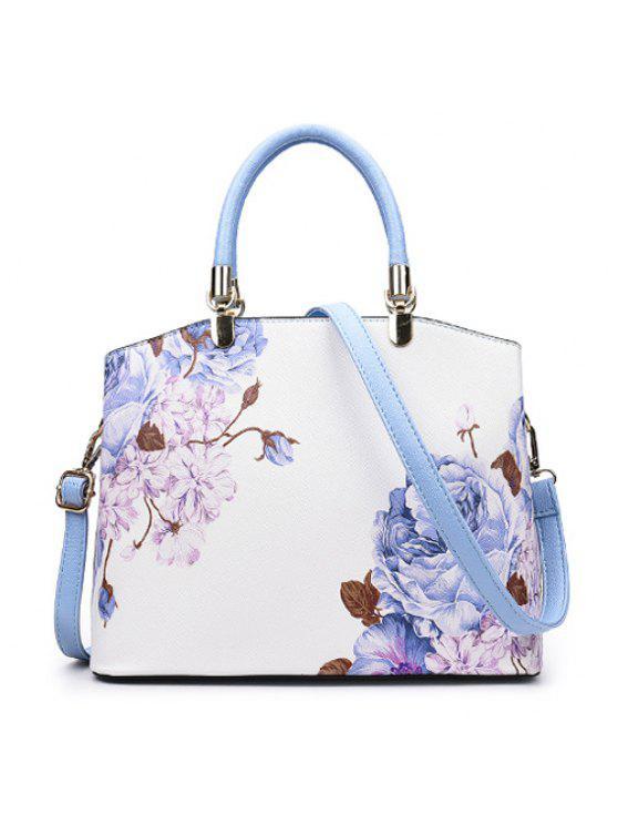 المعادن التفاصيل زهرة المطبوعة حقيبة يد - أزرق