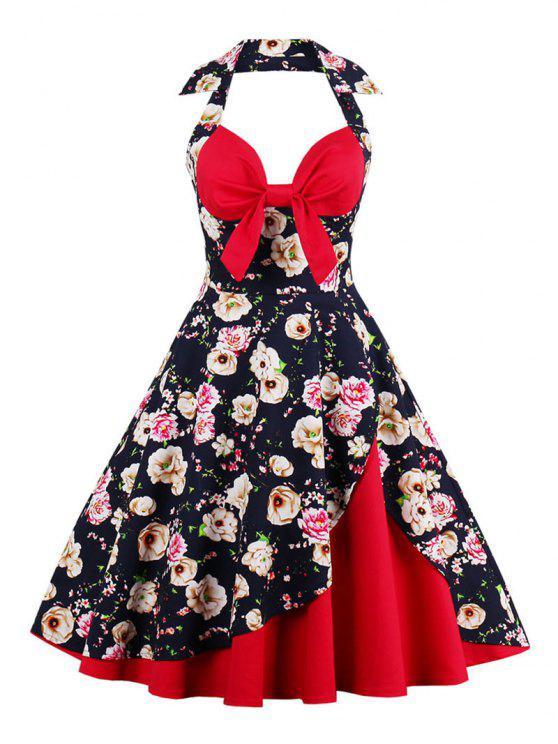 Halter A Line Vintage manchou o vestido - Azul Arroxeado M