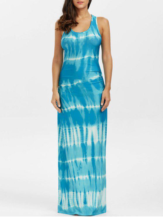 البوهيمي التعادل صبغ الوهم طباعة راسيرباك فستان ماكسي تانك - البحيرة الزرقاء XL