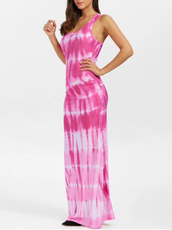 البوهيمي التعادل صبغ الوهم طباعة راسيرباك فستان ماكسي تانك - زهري M