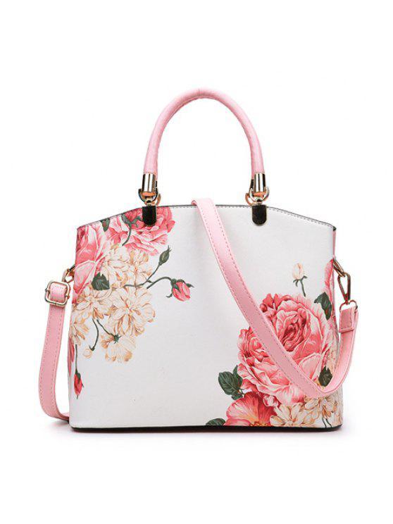 حقيبة يد بطبعة زهرة - زهري