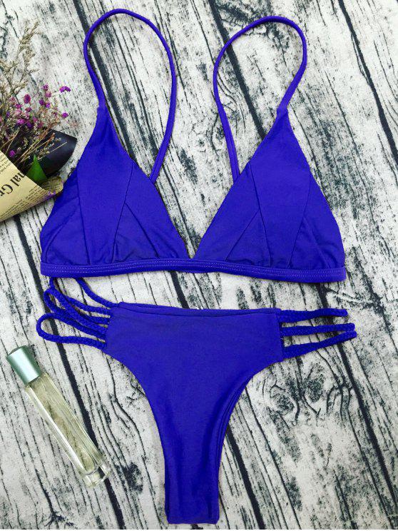 Traje de Bikini de Tirantes Finos con Relleno - Azul M