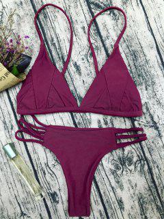Padded Cami Bikini Set - Purplish Red M