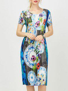 Robe En Gaine Plissée à Imprimé Floral - Bleu L