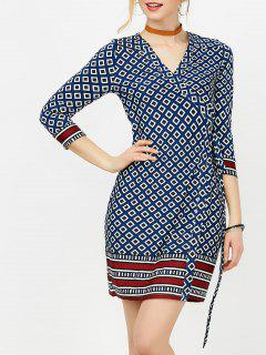 Mini Geometric Print Formal Wrap Dress - Deep Blue M