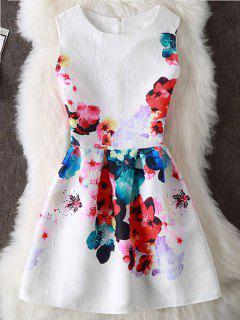 Robe Courte Imprimée Florale Colorée Sans Manches  - Blanc L