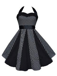Vintage Halter Polka Dot Swing Dress - Black Xl