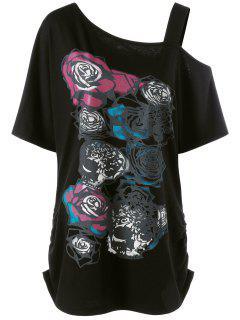 Camiseta Tallas Grandes Patrón Rosa Cuello Asimétrico - Negro 4xl