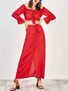 Blusa Corta Fuera Del Hombro Con Falda Maxi - Rojo M