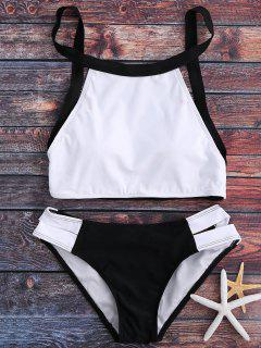 Color Block Cut Out Bikini Set - White Xl
