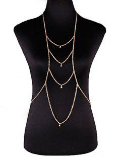 Rhinestoned Layered Body Chain - Golden