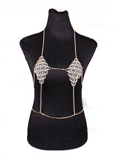 Rhinestoned Hang Neck Bra Body Chain - Golden