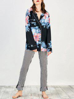 Camisa Floral Con Pantalones A Rayas Loungewear - Negro S