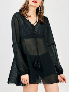 Long Sleeve Flowy Beach Coverup Dress - Black M