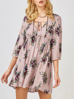 Floral Print Smock Babydoll Dress - Pink S