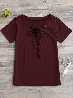 Lace Up Layering T-Shirt - Wine Red Xl