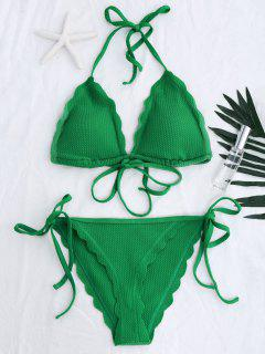 Scalloped Hem String Bikini Set - Green L