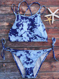 Tie Dye High Neck Tie Side Bikini Set - Light Blue L