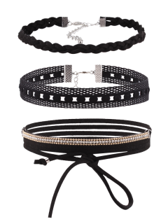Rhinestone Faux Leather Velvet Choker Set - Black