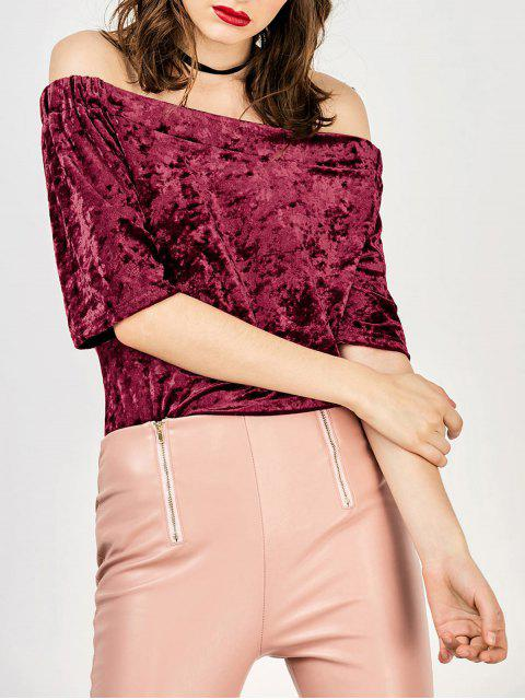 womens Crushed Velvet Off The Shoulder Top - WINE RED M Mobile