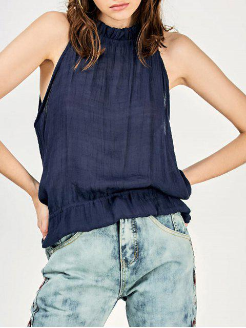 latest Tie Back Frilled Tank Top - PURPLISH BLUE XL Mobile