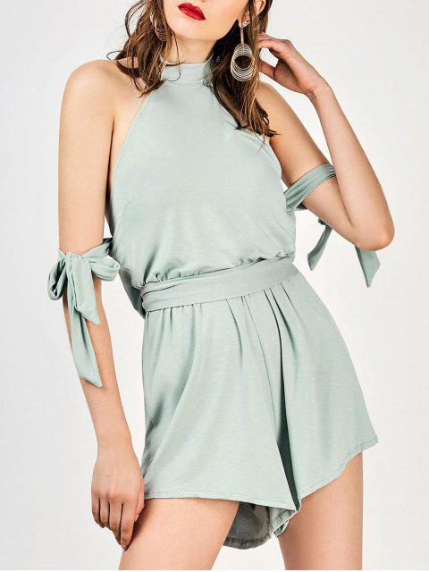 chic Tie Sleeve Halter Slouchy Romper - SAGE GREEN S Mobile