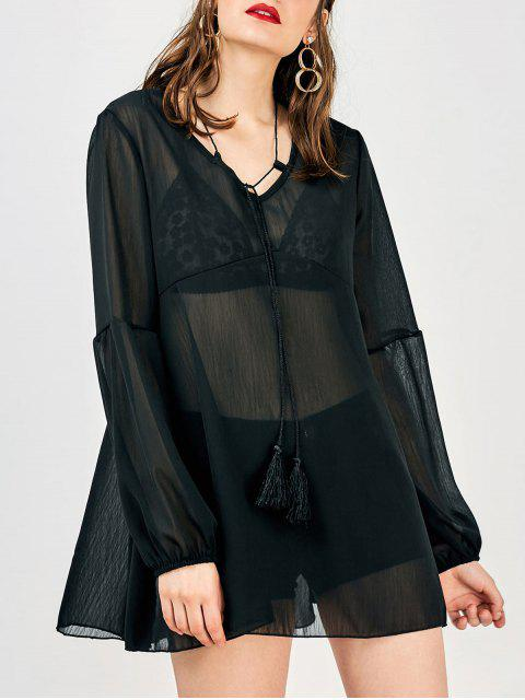 outfits Long Sleeve Flowy Beach Coverup Dress - BLACK M Mobile