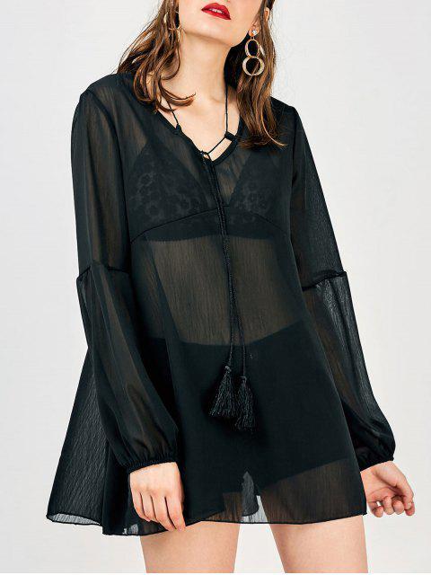 Robe cache maillot de plage flowy à manche longue - Noir M Mobile