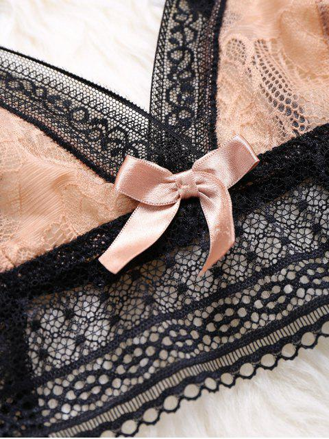 ladies Crossover Lace Unlined Bra Set - YELLOWISH PINK L Mobile