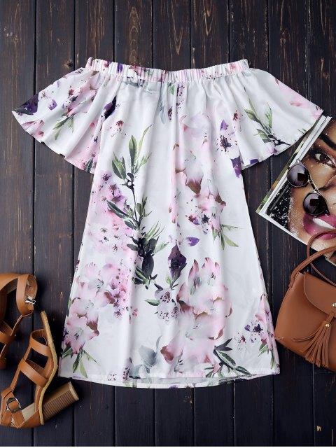 Vestido Retro de Flores con Hombros al Aire - Blanco S Mobile