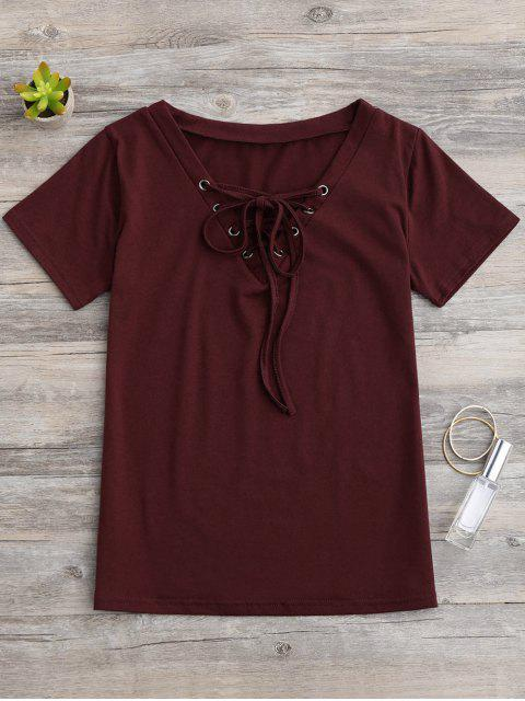 shop Lace Up Layering T-Shirt - WINE RED L Mobile