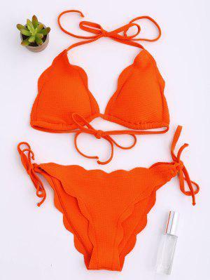 Halter Scalloped Hem String Bikini Set - Orange Red L