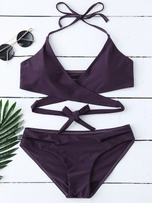 zaful Halter Cut Out Wrap Bikini Set