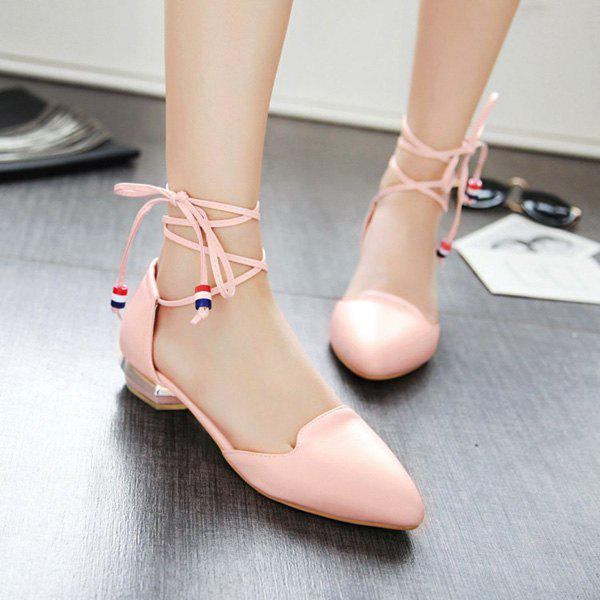 Pointed Toe Tie Up Flat Shoes 210651505