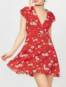 فستان غارق الرقبة طباعة الأزهار كهنوتي - أحمر L