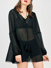 Buy Long Sleeve Flowy Beach Coverup Dress - BLACK S