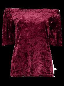 Terciopelo Del La Hombro Superior Parte M De Vino Rojo Arrugado rfOqFr