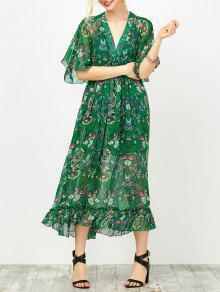 ماكسي الأزهار المطبوعة الإمبراطورية الخصر اللباس مع أنبوب الأعلى - أخضر Xl