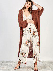 Embroidered Open Front Kimono Dust Coat - Brick-red M