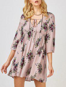 Floral Print Smock Babydoll Dress - Pink M