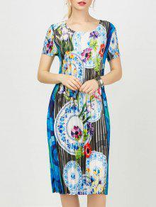 Vestido De Bainha Plissada Floral Com Impressão Floral - Azul L