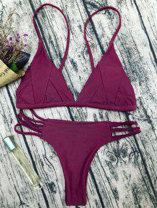 Traje De Bikini De Tirantes Finos Con Relleno - Rojo Purpúreo S