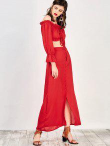 Falda Blusa Del Fuera Maxi Corta M Con Hombro Rojo zzXgq