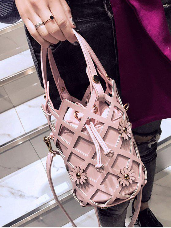 Flowers Cut Out Bucket Handbag - Pink