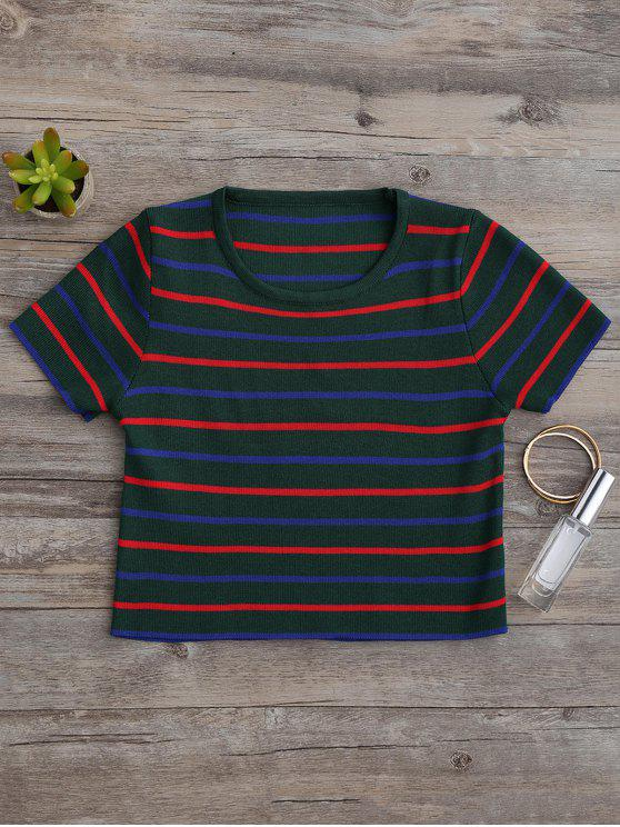 outfits Knitting Stripes Cropped Top - GREEN ONE SIZE